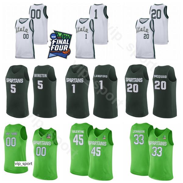2019 final four ncaa custom michigan state spartans 1 joshua langford jersey college basketball 44 nick ward 25 kenny goins 0 kyle ahrens