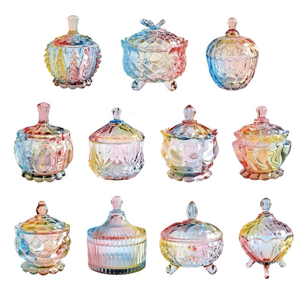 1pcs Wedding Candy Box Baby Shower Kids Birthday Party Decoration Colorful Rainbow Transparent Glass Biscuit Snack Candy Bucket