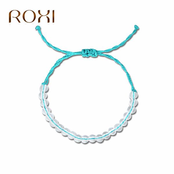 lo último 4f444 e45d6 Compre ROXI 4 Ocean Natural Crystal Beads Bracelets Para Mujeres Hombres  Hecho A Mano Boho Pulsera De La Amistad Joyería Masculina Armbanden Voor ...