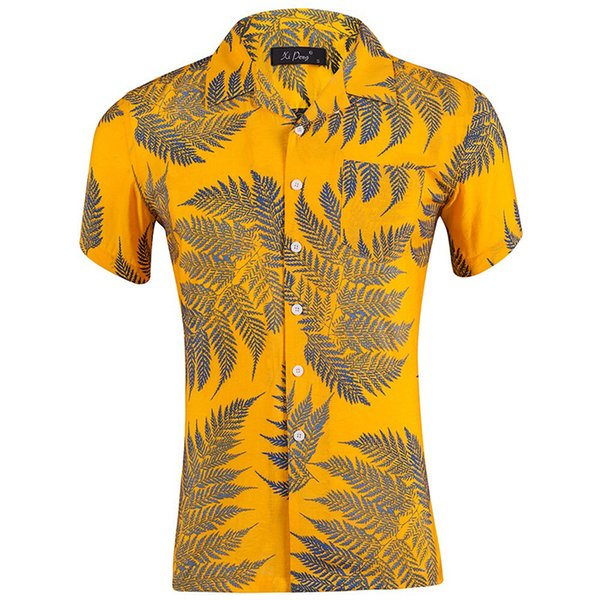 Summer Short Sleeve Men Hawaiian Shirt Leaf Print Beach Shirts Casual Camisa Masculina Men Tops XZ002