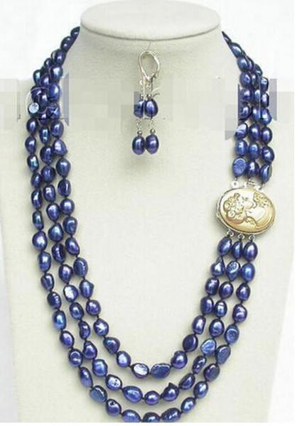 """Free Shipping ++ +20"""" 3row 12mm baroque navy blue pearls necklace dangle Earrings set"""