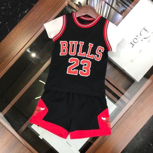 2019 spring and summer children's suit high quality comfortable loose smooth Fake two pieces