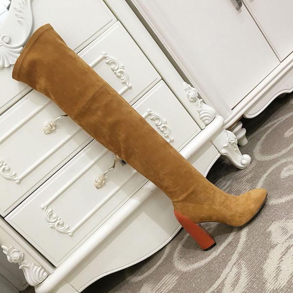 2019 зима новый женский открытый кожа над коленом сапоги на высоком каблуке сапоги высокие сапоги длинные трубки дымоход стрейч загрузки