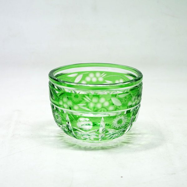 Japanese style Edo kiriko tea cup hand Cut to Clear glass ice cream bowl traditional handmade salad bowl