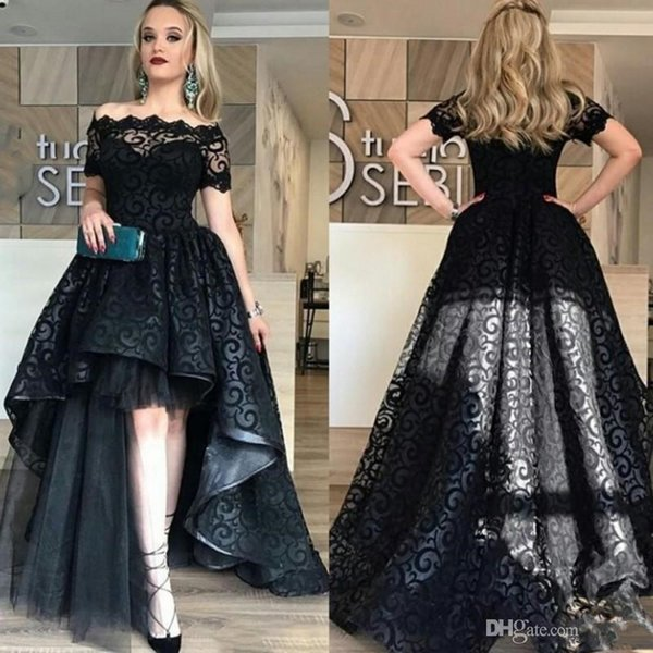 top popular Elegant Black Full Lace High Low Prom Dress 2020 Off Shoulder Short Sleeves Evening Gowns High Quality Fashion Party Gown Custom Made 2020