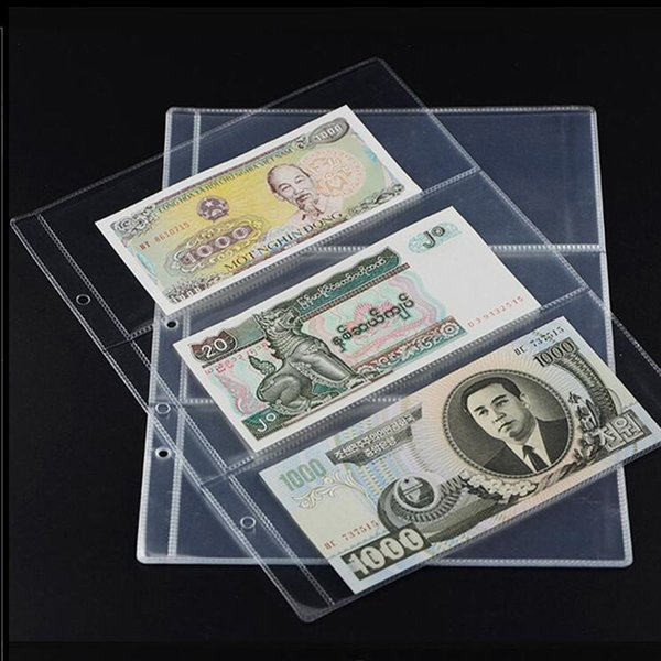 2/4/6 Pcs Transparent Paper Money pages 3 Pockets Bill Note Currency Holder Album Pages Collection185*80mm Drop shipping