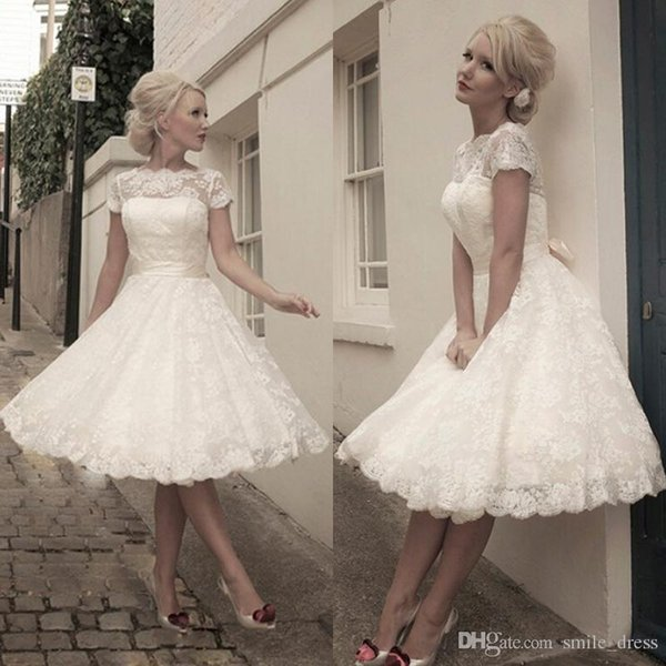 Lace Short Wedding Dresses A Line Scalloped Short Sleeves With Bow Sash Cheap Wedding Dress 2019 Knee Length Bridal Gowns SA045