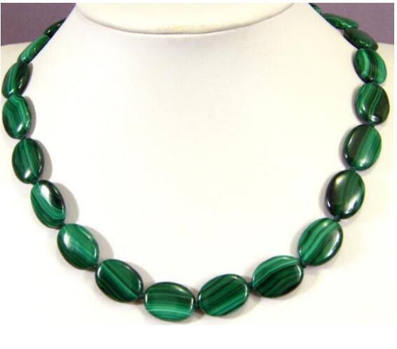 Jewelryr Jade Colar bonito 13x18mm malaquita verde Oval Plana Gemstone Beads Colar 18