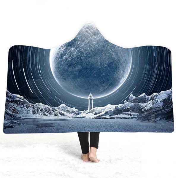 3D луна одеяло с капюшоном шерпа флис носимых плюшевые одеяло на диван кровать толстый теплый B123