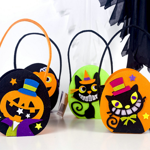 4 Pcs Halloween Trick or Treat Bags Candy Bucket Baskets Pumpkin Black Cat Felt Bag Tote Gift Bags for Kids Costume Party Favor Decoration