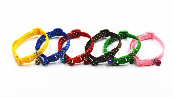 Nylon Haustier Hund Welpe Katze Halsbänder Mode Polka Dot Print Einstellbare Heimtiere Halskette Mit Glocke 6 Farben Haustier Kragen