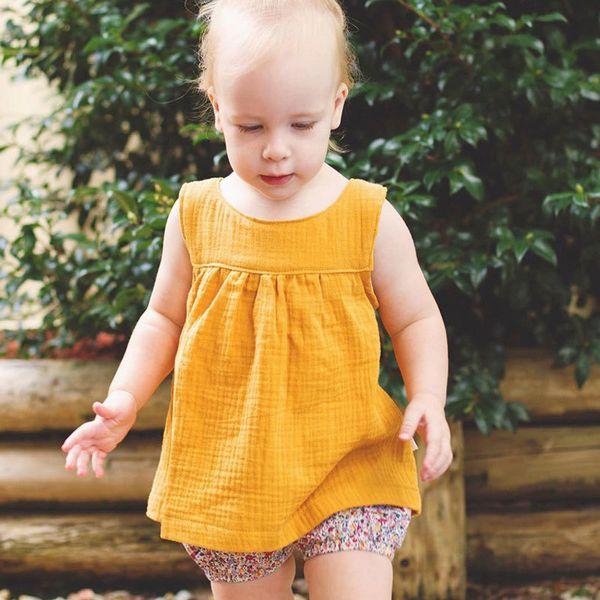 Estate delle neonate T Shirt Top pantaloni di lino cotone bambini biancheria attrezzature dei bambini Abbigliamento neonati Abbigliamento bambino comodo 1-4Y