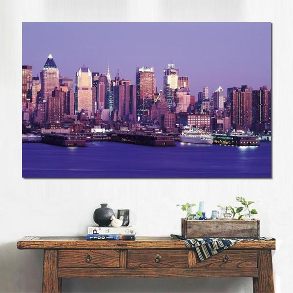 HD canvas prints lights city blue panorama Unframed Painting wall fine art