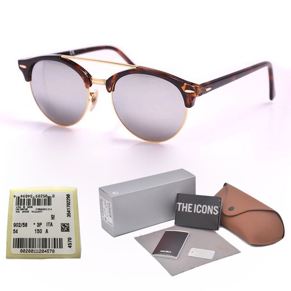Top Quality Oval Plank Frame Glass Lens men women Sunglasses Classic Half Frame Designer Driving men Sun Glasses Oculos with cases and label