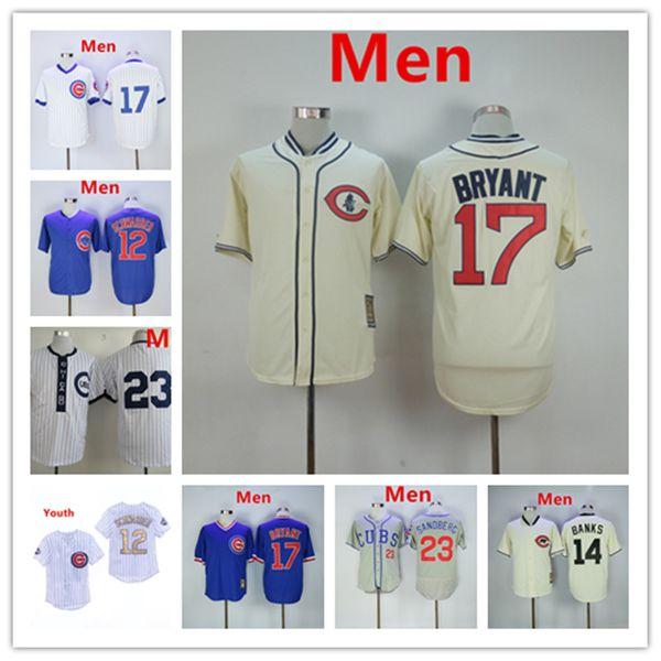fe659fb6a5d Chicago Ryne Sandberg Cubs Jersey Kris Bryant Kyle Schwarber Ernie Banks  Javier Baez Blue Throwback Baseball
