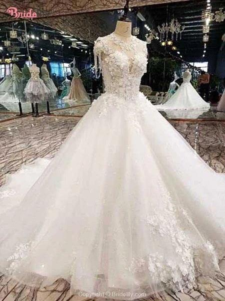 Luxury High Neck 3d Flowers A-line Wedding Dresses Cheap Backless Corset Back Ball Gown Plus Size Bridal Gown BM1611