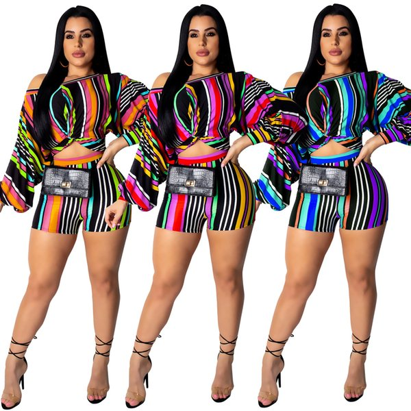 Hot Selling Women Multicolor Striped Printed Long Sleeve Fashion Two Pieces Outfits Long Sleeve One Shoulders Short Top and Shorts Club Sets