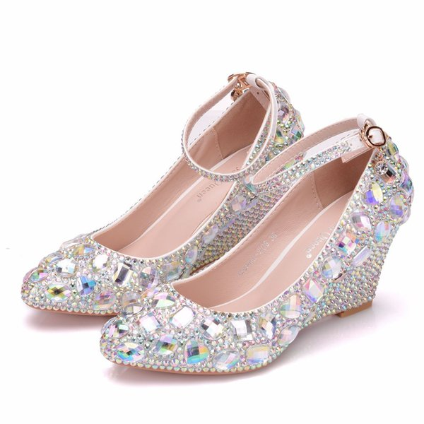 Crystal Queen Womens Wedding Shoes Woman High heels Pumps Bling Shining Platform Wedge shoes Ladies Party Dress high Shoes