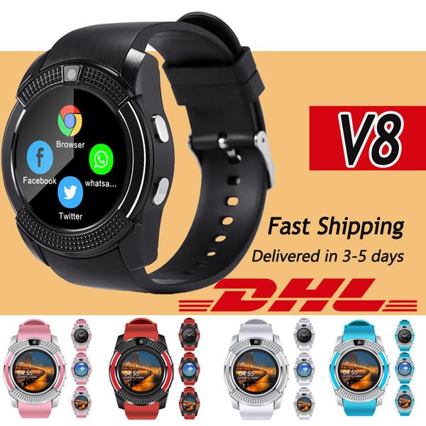 V8 Bluetooth Смарт Часы PK DZ09 GT08 сим-карты Мужчины камера округлые Ответить на вызов Набор номера вызова SmartWatch Android с розничной упаковке