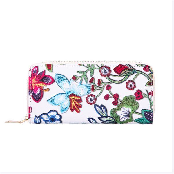 2019 Women Wallets Long Wallets Casual Floral Printing Designer Purses Brand Wallets Card Holder Carteira Feminina