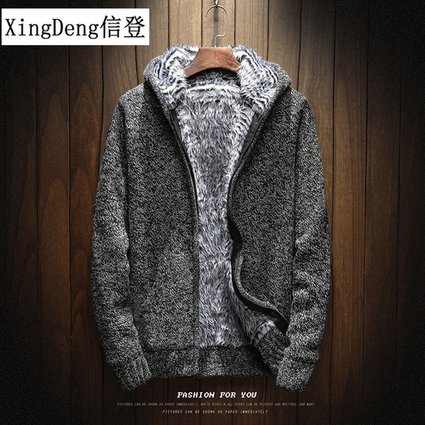 xingdeng 2018 warm affordable thick fashion knitting hoodies men sweatshirt zip male hooded fur clothes