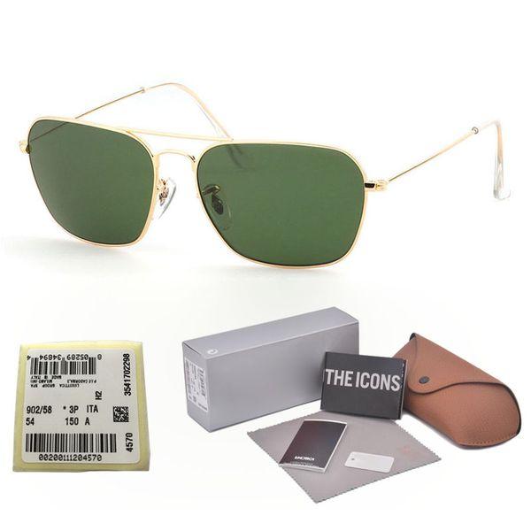 Al por mayor- Gafas de sol de diseñador de marca Hombres Mujeres Marco de aleación G15 gradiente Lente de vidrio oculos de sol Con estuches y etiqueta gratuitos