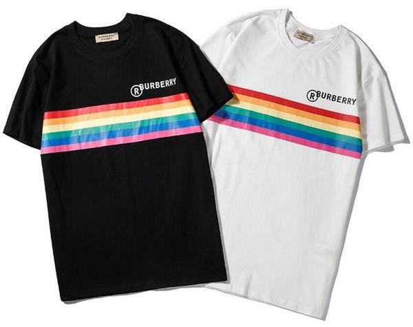 19 summer new men and women models rainbow stripes gradient letter printing logo short sleeve couple loose T-shirt black white S-XXL