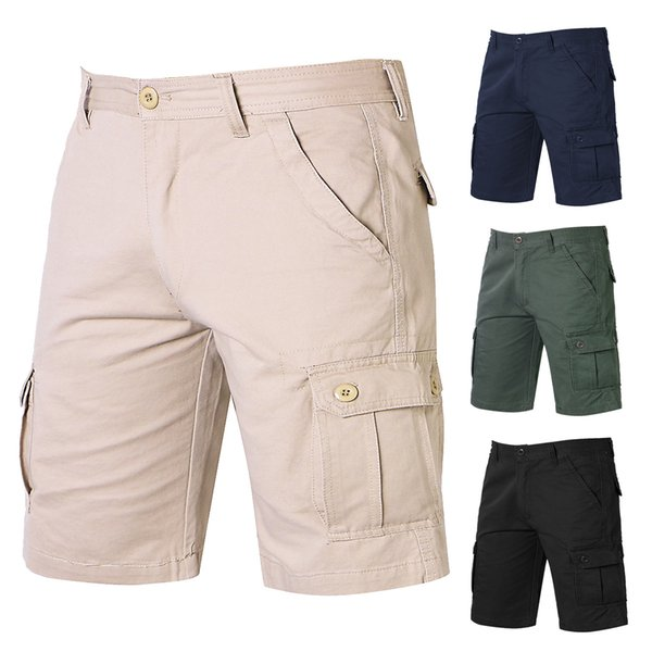 Best selling summer outdoor solid color shorts men's loose multi-pocket overalls youth casual five-pants size 32-38