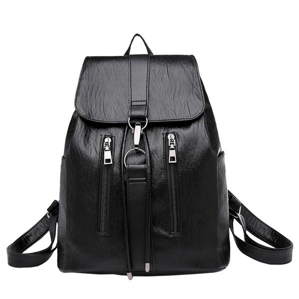 Designer-High Quality Vintage Girl Leather School Bag Backpack Satchel Women Travel Shoulder Bag Large Capacity For Teenage Girls