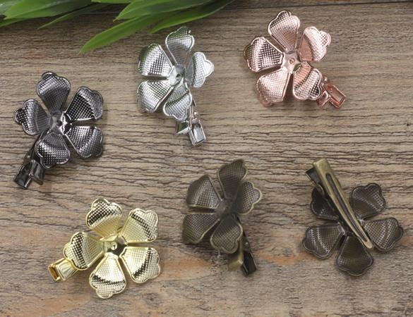 20pcs 35/30mm Gold French barrettes flower hair pin ethnic Alligator clip vintage hairpin silver hairclip antique hairwear jewelry