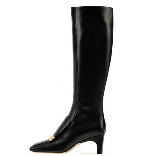 Square Toe Thick Heel Boots Metallic Decoration Women Knee Boots Fashion Brand Mid Heel Shoes Large Size 34-46 Custom Lady Boots