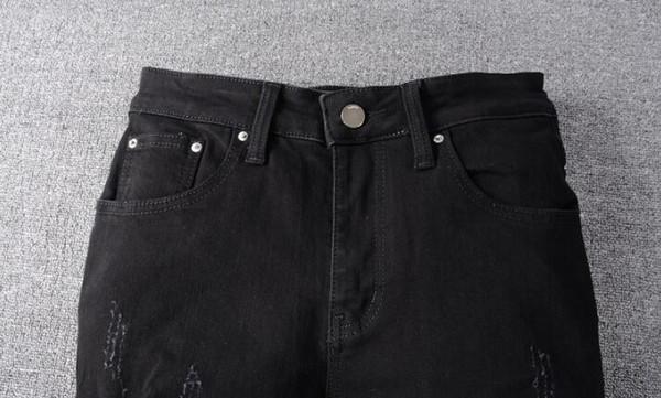 Fori di moda jeans da uomo afflitto strappato Biker Jeans Slim Motociclista Denim Hip Hop denim pantaloni neri jeans da uomo