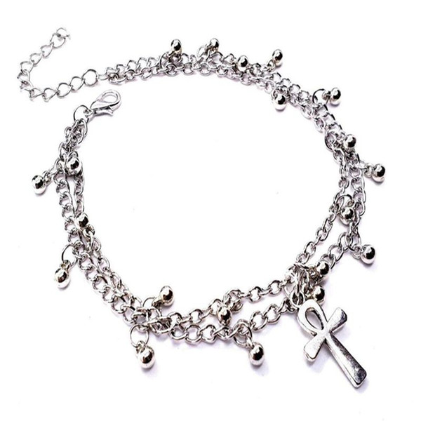 Ankh Cross Ankle Bracelet Gothic For Women Jewelry Vintage Silver Double Chain Foot Dancing Foot Beach Bracelet Boho Ethnic Bangles