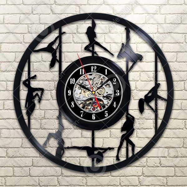 Dancer Vinyl Wall Clock Modern Home Decor Handmade Art Personality Gift (Size: 12 inches, Color: Black)