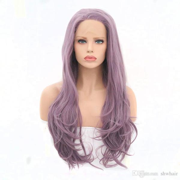 Парик из синтетического кружева Высокотемпературное волокно, Свободная часть Натуральная линия роста волос Слоистая натуральная волна Фиолетовый синтетический парик фронта шнурка Для белых женщин