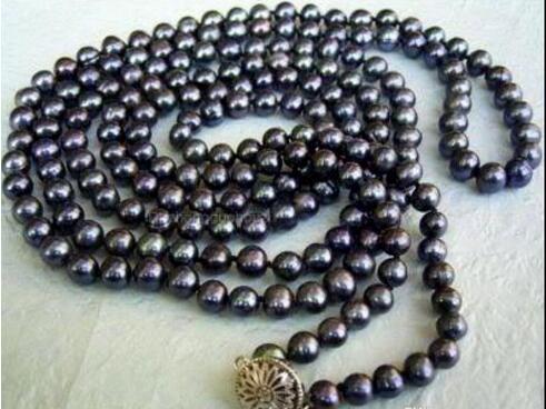 7-8мм черный Akoya культивированный жемчуг рука завязанный ожерелье 50