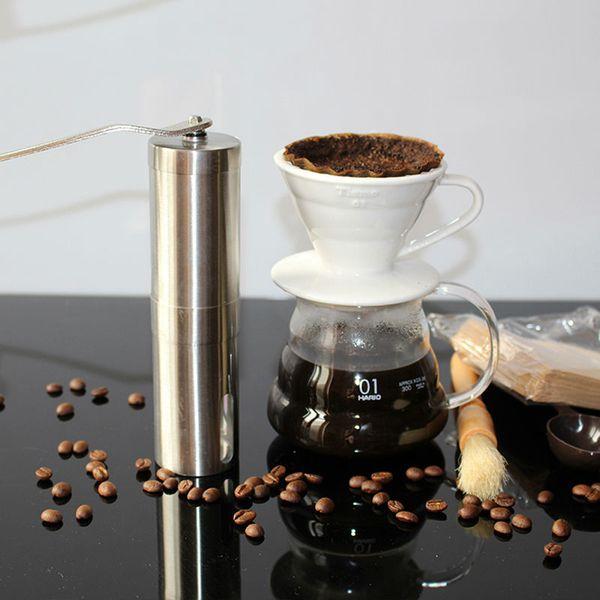 Silver Coffee Grinder Mini Stainless Steel Hand Manual Handmade Coffee Bean Burr Grinders Mill Kitchen Tool Crocus Grinders DHL
