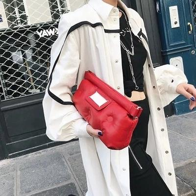 New Winter Space Bale Handbag Woman Casual Space Cotton Totes Bag Down Feather Padded Lady Shoulder Crossbody Bag Clutch