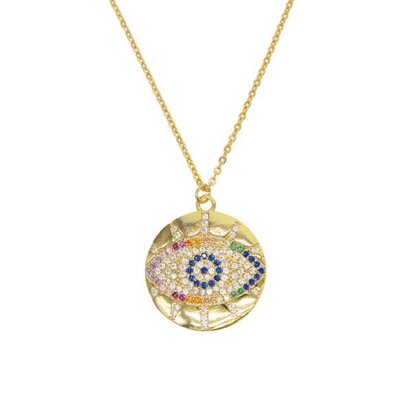 boho 2019 trendy gold classic turkish evil eye pendant necklace for girl paved tiny gorgeous rainbow CZ chic women jewelry gifts
