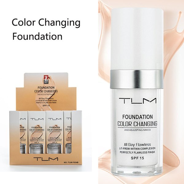 Stock Flawless Color Changing Foundation Makeup Base Nude Face Liquid Cover Concealer Long Lasting Pre Makeup Sun Block Pores Drop Shipping