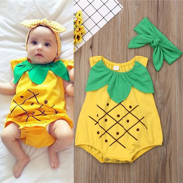 Verão Do Bebê crianças roupas crianças abacaxi modelo impresso sem mangas macacão + headband 2 pcs bebê rastejando roupas crianças roupas de grife JY479
