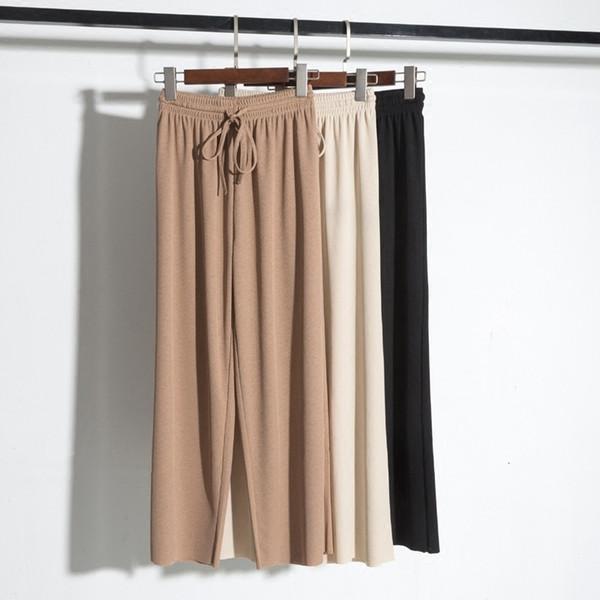 2018 buz ipek geniş bacak pantolon kadın yüksek bel drape ince kesit ilkbahar yaz gevşek vahşi dokuz puan gündelik pantolonunuza Retro V191021 örme