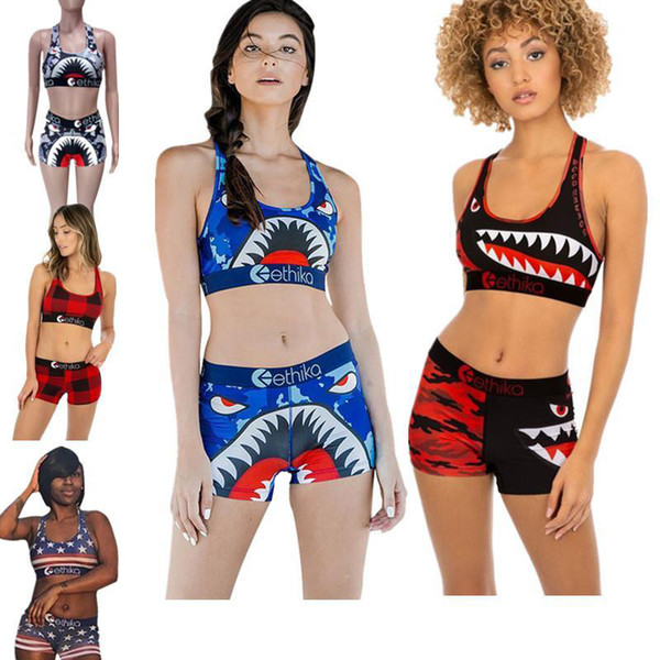 best selling Women's Ethika Shark Swimsuit Crop Tank Top Bra +Shorts Tracksuit Quick Dry Swimwear Beachwear Summer Swim Bathing Suit 6 Colors