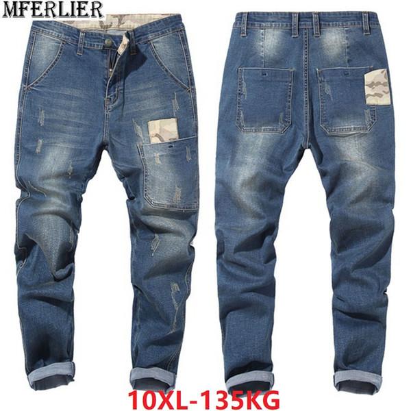 men jeans pencil hipster high street plus size big 8XL 9XL 10XL large jeans Camouflage 46 48 Elasticity Harem pants japan style