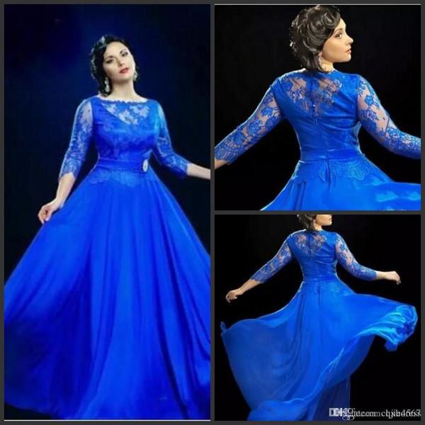 2019 Nuovo design formale abiti da sera trasparenti blu reale con 3 4 maniche lunghe abiti da ballo UK Plus Size abito per donne grasse Vestido De Noiva