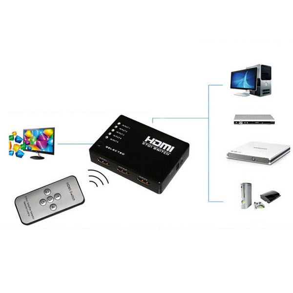 1Set Hot Sale 5 Port HDMI Switch Switcher 1.3b HDMI Splitter Hub with IR Remote IR Receiver Cable for Xbox PS3 DVD 3D 1080P HDTV