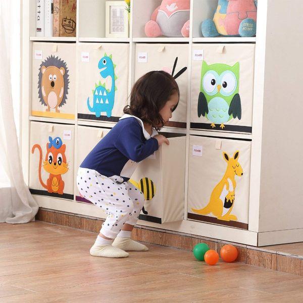 33*33*33cm Cube Storage Box Cartoon Animal Pattern Folding Large Laundry Basket for Sundries kid Clothes Toy Storage