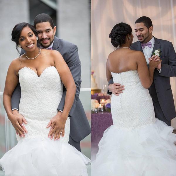 Sweetheart Mermaid Abito da sposa Appliques Pizzo Abito da sposa Backless Bride Dress de noiva