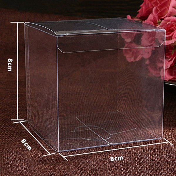 10pcs/lot transparent clear gift candy box square pvc chocolate boxes 5*5*5 cm-8*8*8cm wedding favor party event decoration