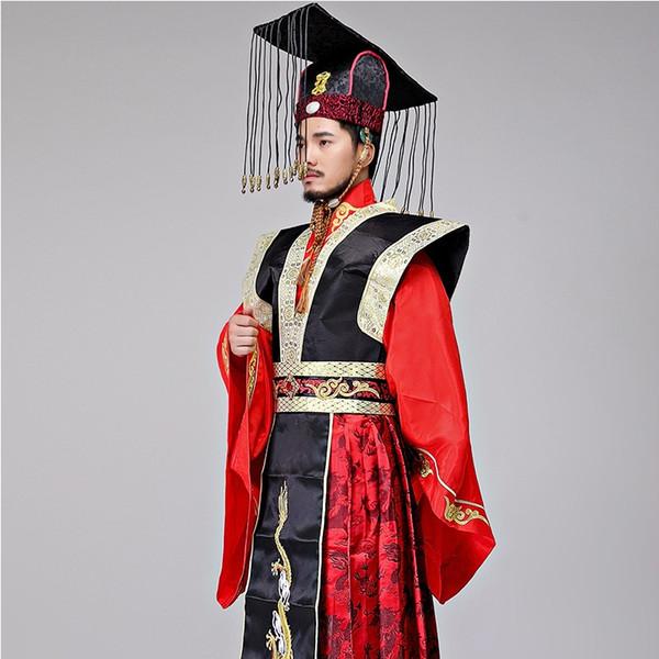 Costume da Hanfu maschile L'abito dell'Imperatore della dinastia Qin per la TV per il cinema Gioca all'abito da palcoscenico L'abito rosso imperiale